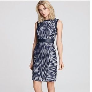 Milly navy tweed leather trim sheath career dress